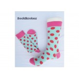 Turquoise Red and Pink polka dots c..