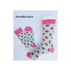 Turquoise Red and Pink polka dots crew / dress socks-men's