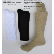 100% cotton over the calf comfort top athletic socks