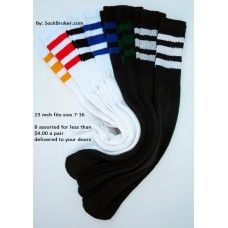 "8 pairs of 23""  black and white assorted retro 3 stripe tube knee high socks"