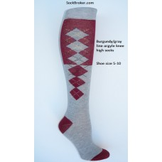 SZ 5-10 (2) Tone gray and burgundy knee high argyle socks