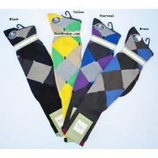 Premium mercerized cotton diamond argyle comfort top over the calf dress socks