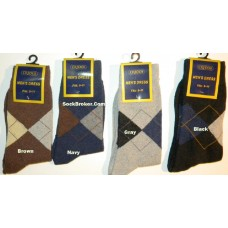 12 pairs of argyle cotton casual or dress socks