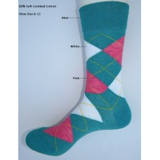 Cotton Light blue pink and white argyle dress socks size 8-12