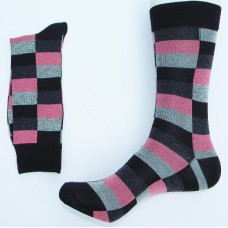 Black Pink Gray square box cotton argyle  dress socks