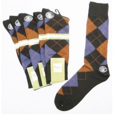 Brown and light purple argyle socks-men's