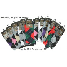 12 Pairs Assorted Argyle Dress Socks-Men's