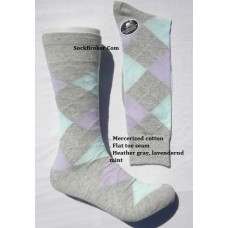 Vannucci Light gray with sky blue and light purple mercerized cotton argyle socks-men's