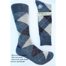 Charcoal Brown Ivory Cotton Argyle Dress Socks- Men's