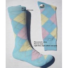 Vannucci mercerized cotton light blue, light yellow and pink argyle socks-men's