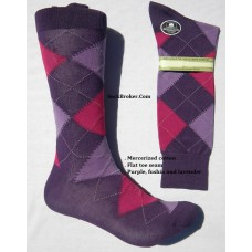Vannucci mercerized cotton purple, pink, lavender argyle socks-Men's