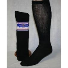 13-15 U.S.A 6pr Black Cotton comfort top diabetic over the calf socks