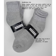 24 Pairs Of Gray Big and Tall Comfort Top Cotton Ankle Socks 13-15