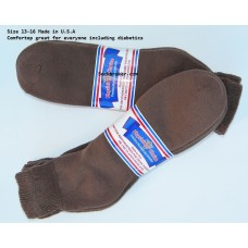 6 pairs 13-15 Brown U.S.A Made Ankle Cotton Diabetic Crew socks