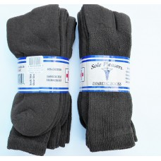 U.S.A Made Big & Tall 6 pack of Brown Comfort Top Diabetic Crew Socks