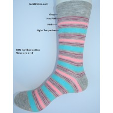 Gray with pink and aqua Striped cotton dress socks