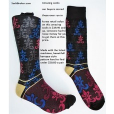Baroque style black red premium cotton dress socks size 8-12