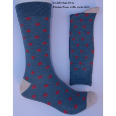 Cotton blue/ Gray and pink polka dot dress socks-Men's