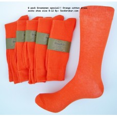 6 pack groomsmen cotton orange dress socks-Men's