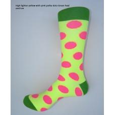 Neon yellow with pink polka dot dress socks size 8-12