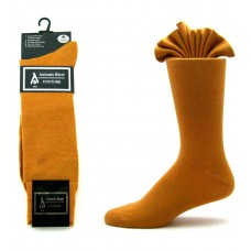 Premium cognac brown cotton dress socks-Men's