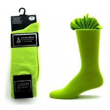 Premium lime green cotton solid dress socks- Men's