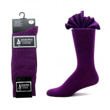 Premium dark purple cotton dress socks-Men's