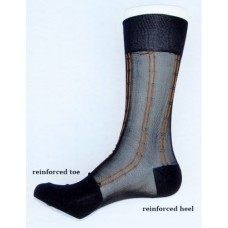 Sheer nylon black dress socks with orange pinstripe men's