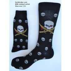 Men's pirate sword skull cotton dress socks size 8-12