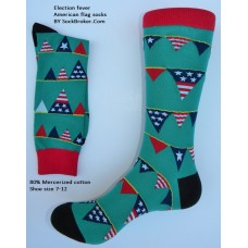 American election flag banner cotton dress socks size 8-12