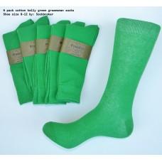 Kelly green cotton dress socks-Men's 7-12