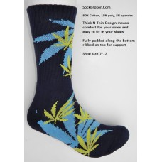 Navy marijuana leaf padded  thick N thin cotton crew socks