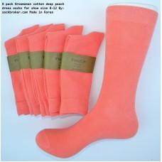 Coral Peach Combed Cotton Dress Socks