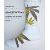 White with brown marijuana leaf pad..