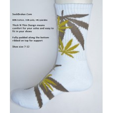 White with brown marijuana leaf padded  thick N thin cotton crew socks
