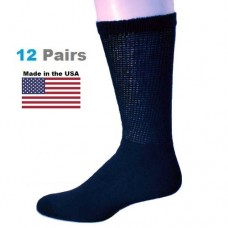U.S.A Made 3 Pair Navy Cotton Comfort Top Diabetic Crew Socks