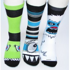 3 pairs of Monster cotton crew socks size 8-12
