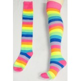 Thigh High Neon Pink Rainbow Stripe..