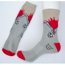 Great white shark eating leg cotton crew socks size 8-12