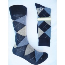 Vannucci Mercerized Cotton Navy Blue Argyle Socks-Men's