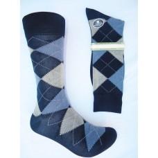 Vannucci Mercerized Cotton Navy Blue Argyle Socks-Men's