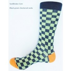 Premium cotton black and green checkered dress socks size 7-12