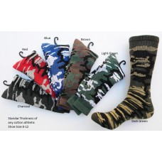 3 Pairs of Camouflage Thick N Thin Cotton Crew Socks