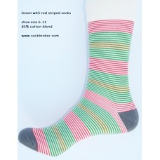 Ivory with green and red cotton striped dress socks