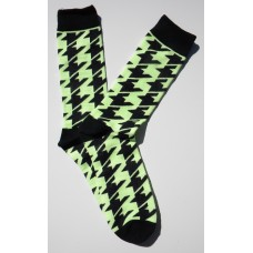 Mint  Neon Green Hounds Tooth Cotton Dress Socks