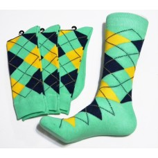 Spearmint Green Yellow, Dark Navy Cotton Argyle Socks SZ 7-12