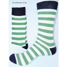 Green and white stripe cotton dress socks- Men's 7-12