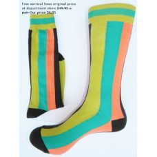 Sale!!  Premium cotton vertical line green orange dress socks size 7-12