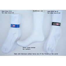 12 Pack of 91% Cotton Crew Athletic Socks