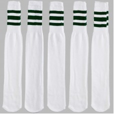 23 inch White with three ( 3 ) pine green stripes tube knee high socks